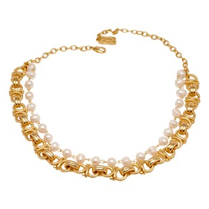 Double Layered Freshwater Pearl Rope Chain Collared Necklace