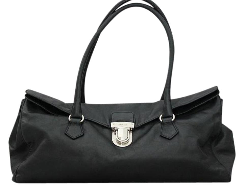 1f469463aa23 Prada  easy  Fold-over Push-lock Black Leather Shoulder Bag - Tradesy