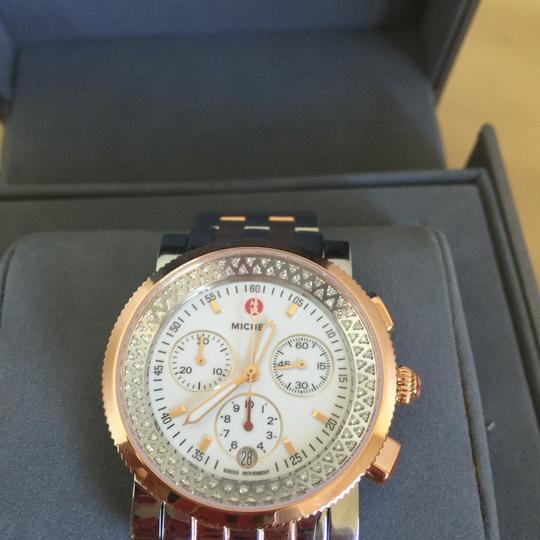 Michele $2250 NWT SPORT SAIL 2 TONES DIAMONDS WATCH MWW01C000135