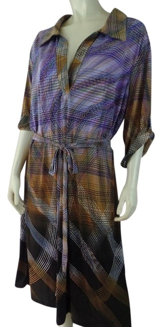 Preload https://item3.tradesy.com/images/mlle-gabrielle-brown-tan-purples-2x-pullover-stretch-abstract-lines-lightweight-mid-length-short-cas-19351892-0-1.jpg?width=400&height=650