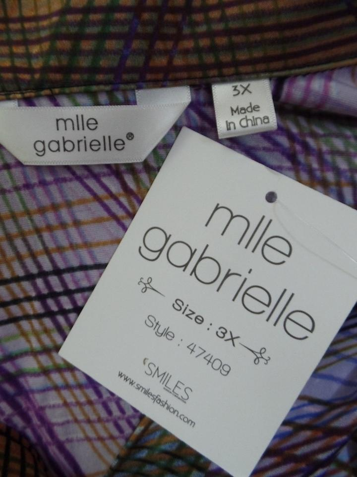 e0783a2b87a Mlle Gabrielle Brown Tan Purples 2x Pullover Stretch Abstract Lines  Lightweight Mid-length Short Casual Dress Size 22 (Plus 2x)