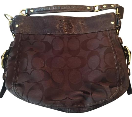 Preload https://item5.tradesy.com/images/coach-brown-fabric-and-leather-shoulder-bag-19351899-0-1.jpg?width=440&height=440