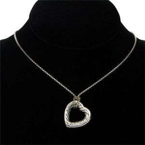 David Yurman David Yurman Pave Signature Cable Heart Silver Pendant Necklace