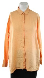 Eileen Fisher Orange Linen Button Down Button Down Shirt