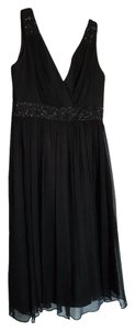 Maggy London V-neck Beaded Flowy Silk Dress