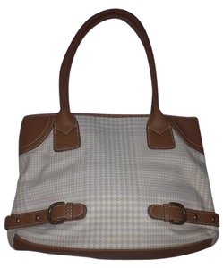 Chaps Tote in Cream Tan Light Pink Plaid