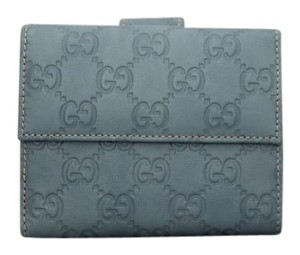 Gucci Gucci Blue GG Leather Compact Wallet