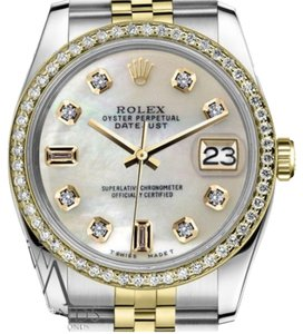 Rolex Women`s 26mm Datejust 2 Tone White Mother Of Pearl 8+2 Diamond Watch