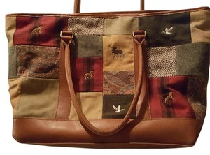 L.L.Bean Overnight Tan trim, patchwork Travel Bag