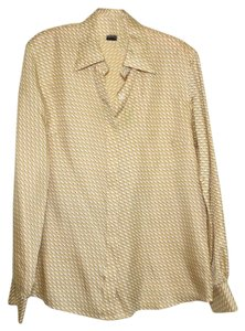 Brooks Brothers Equestrian Silk Print Top Gold