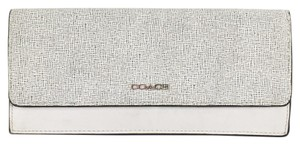 Coach Coach Slim Compact White Wallet Black Textured