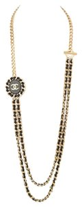 Chanel Chanel 2016 Goldtone and Black Leather Chain-Link Necklace