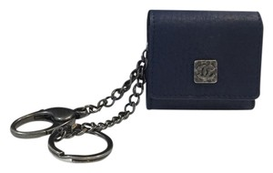 Chanel Navy Leather Keychain