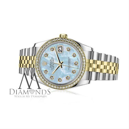 Rolex Women`s 26mm Datejust 2 Tone Baby Blue Mother Of Pearl Dial Diamond