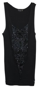 A.B.S. by Allen Schwartz Beading Ribbed Top Black