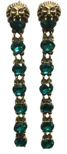 Other Lion Head Gold Electro-Plated Emerald Sinox Crystals Post Earrings