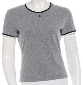Chanel Metallic Interlocking Cc Logo T Shirt Grey, Black