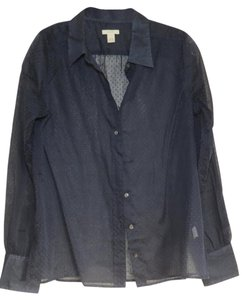 J.Crew Cotton Polka Dot Sheer Button Down Shirt Navy Blue
