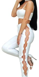 Missguided Trousers Carly Bybel Cocktail Skinny Pants White