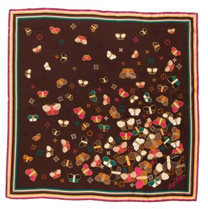 Louis Vuitton Brown, Red Louis Vuitton LV Monogram Butterfly silk scarf