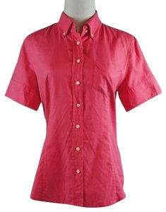 J.Crew French Oxford Shirt Short Sleeve Top Pink