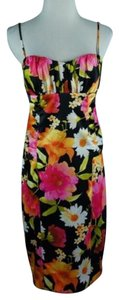 David Meister Ruched Poly Satin Floral Print Dress