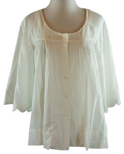 JOE'S Jeans Loose Fit Button Front Pintuck Pleats Boho Top White