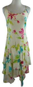 Muse short dress Multi-Color Silk Asymmetrical Tiered Hem Painterly Print on Tradesy
