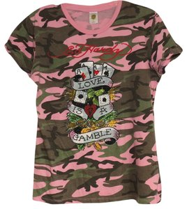 Ed Hardy Rhinestone Camouflage Pink Graphic T Shirt Pink Camo