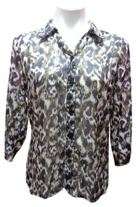 Christopher & Banks & Animal Print Button Down Shirt Brown