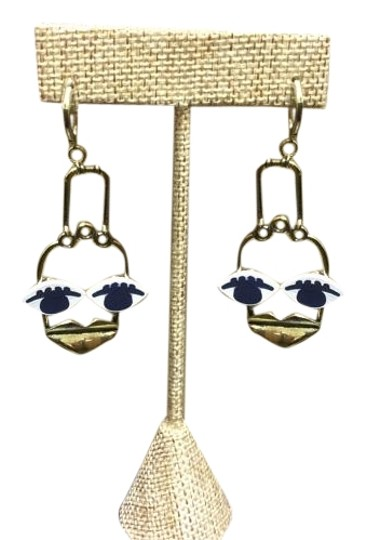 Other Antique Gold electro-plated Patchwork Face Lever Back Earrings