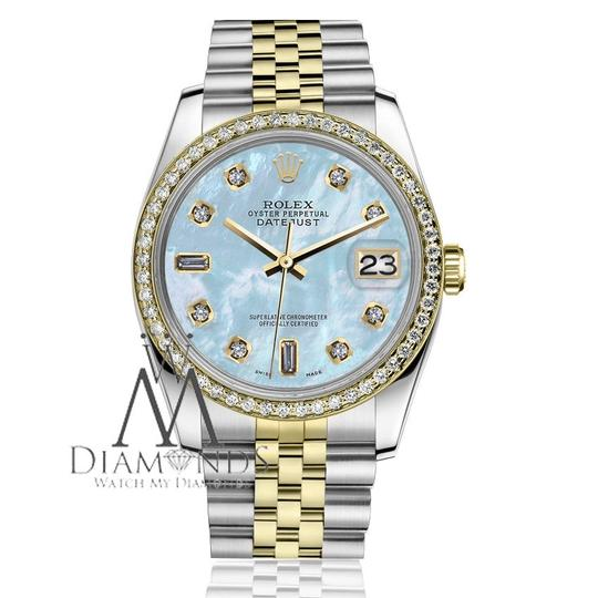 Rolex Men`s 36mm Datejust 2 Tone Baby Blue Mother Of Pearl 8+2 Diamond
