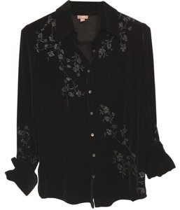 J. Jill Button Down Shirt Black velvet