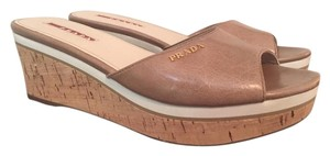 Prada Wedge Leather Beige Mules
