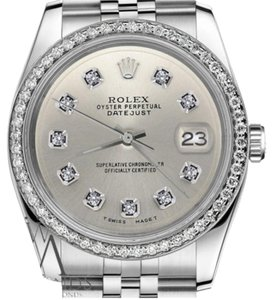 Rolex Ladies 31mm Datejust Stainless Steel Silver Color Diamond Dial Watch