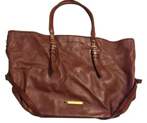 Burberry Leather Tote in Saddle Brown