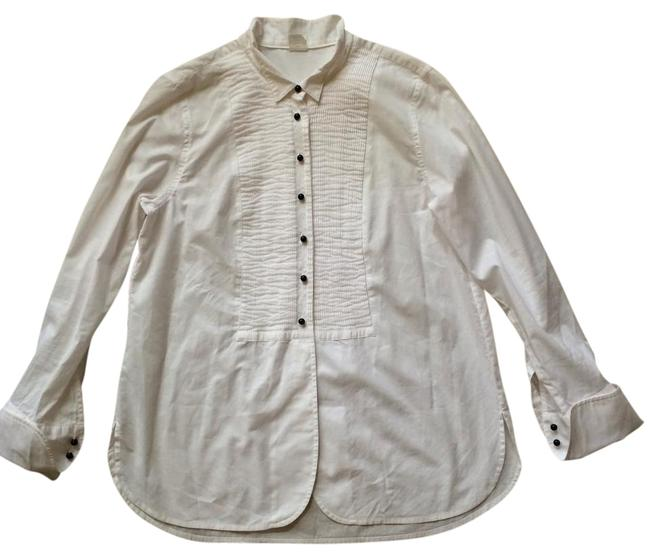 Preload https://item1.tradesy.com/images/jcrew-white-tuxedo-tunic-button-down-top-size-8-m-19353440-0-1.jpg?width=400&height=650