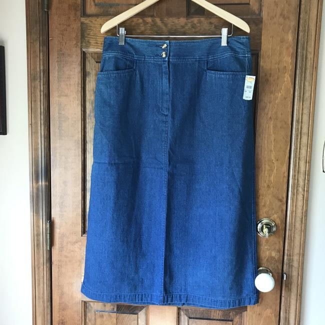 Talbots Petite New With Tags Cotton Back Pleat Skirt Denim