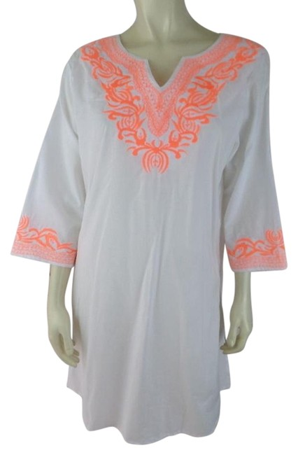 Preload https://item4.tradesy.com/images/white-with-orange-embroidery-m-see-thru-cotton-pullover-new-tunic-size-10-m-19353493-0-1.jpg?width=400&height=650