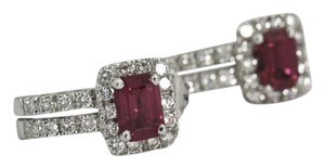 Bullion & Diamond Co. Pink Sapphire Diamond Earrings 18k White Gold, Gemstone Studs
