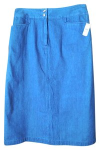 Talbots Petite New With Tags Cotton Skirt Denim
