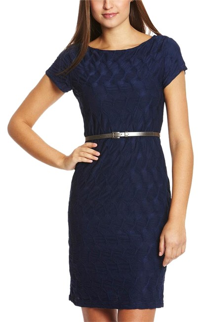 Preload https://item1.tradesy.com/images/sharagano-navy-cap-sleeve-web-knit-knee-length-workoffice-dress-size-6-s-19353610-0-2.jpg?width=400&height=650