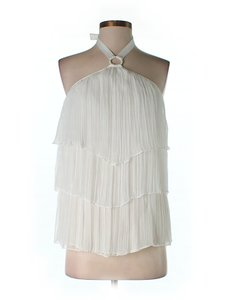 Catherine Malandrino Pleated Tiered Halter Top Ivory