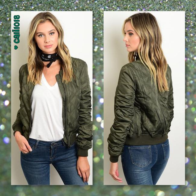 Other Bomber Military Puffy Coat Olive Green Jacket