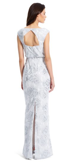 Adrianna Papell Silver White Floral Sequin Blouson Gown Vintage Wedding Dress Size 2 (XS)