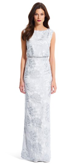 Preload https://img-static.tradesy.com/item/19353711/adrianna-papell-silver-white-floral-sequin-blouson-gown-vintage-wedding-dress-size-4-s-0-0-540-540.jpg