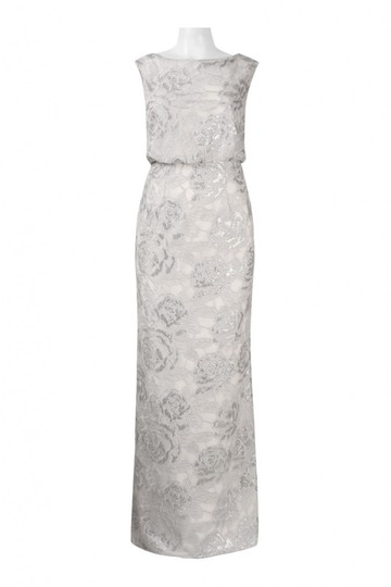 Adrianna Papell Silver White Floral Sequin Blouson Gown Vintage Wedding Dress Size 4 (S)