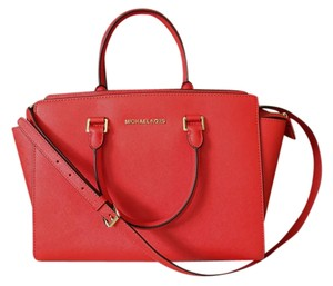 Michael Kors Leather Orange Red Large Orange Satchel in Mandarin Tangerine