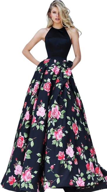 Item - Black Pink Roses Print Evening Gown Long Formal Dress Size 2 (XS)
