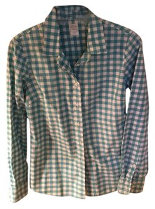 J.Crew Button Down Shirt White and turqoise checked